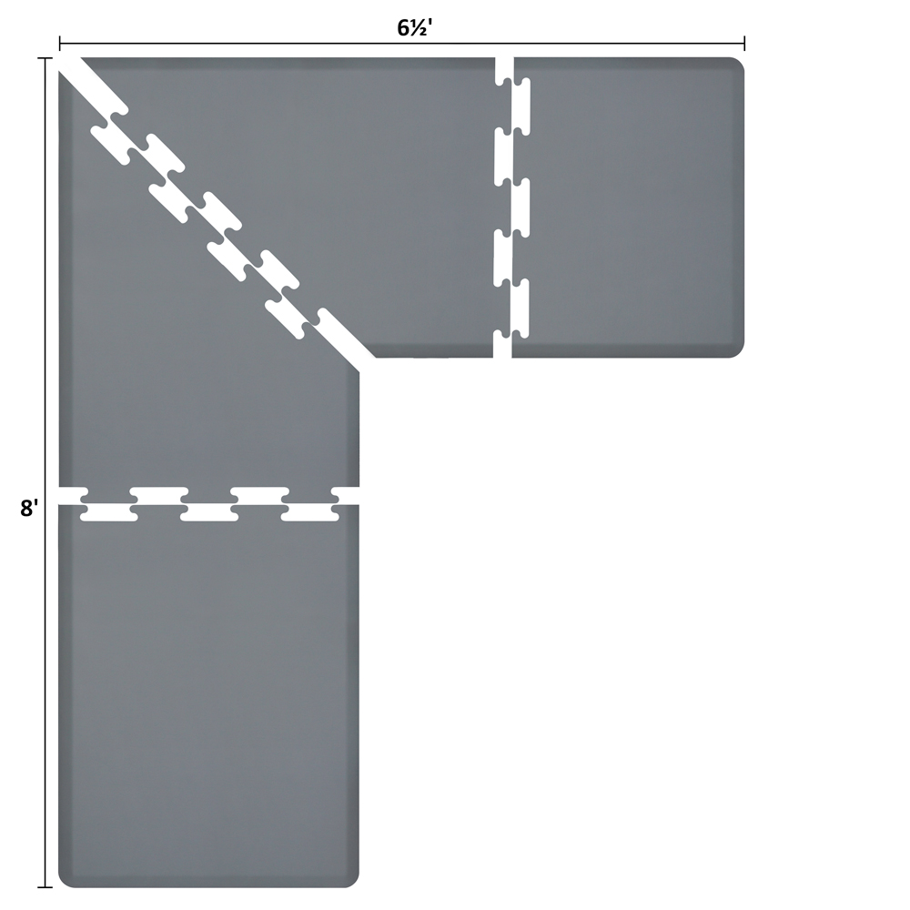 Wellness Mats LS3WMP865GRY L-Series Puzzle Piece Collection w/ Non-Slip Top & Bottom, 8x6.5x3-ft, Gray