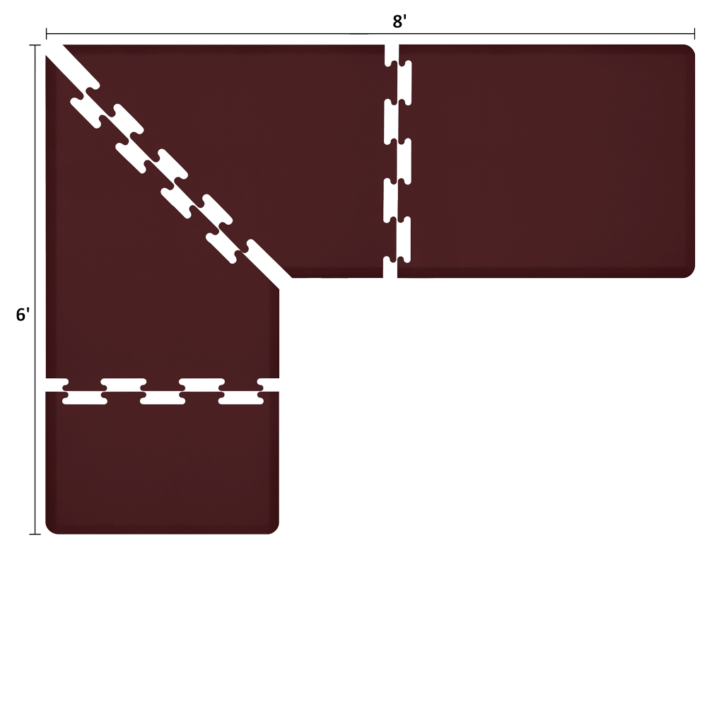 Wellness Mats LS3WMP86BUR L-Series Puzzle Piece Collection w/ Non-Slip Top & Bottom, 8x6x3-ft, Burgundy