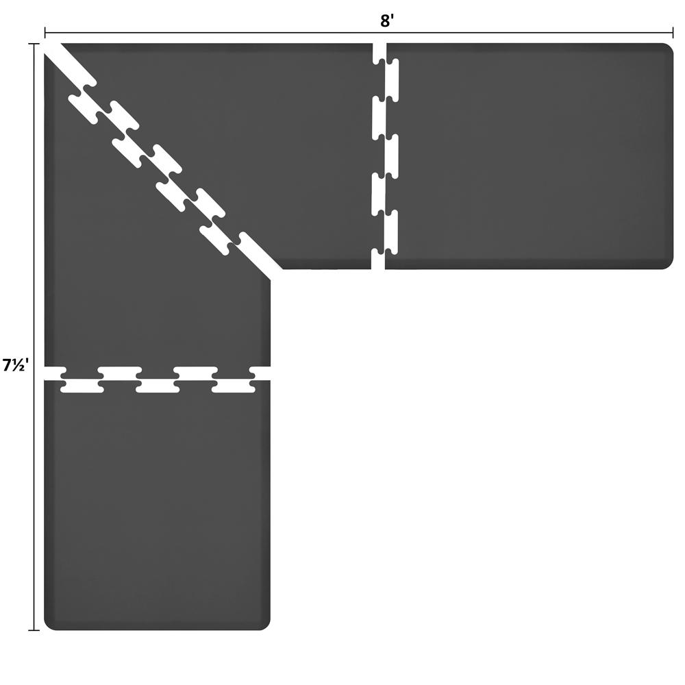 Wellness Mats LS3WMP875BLK L-Series Puzzle Piece Collection w/ Non-Slip Top & Bottom, 8x7.5x3-ft, Black