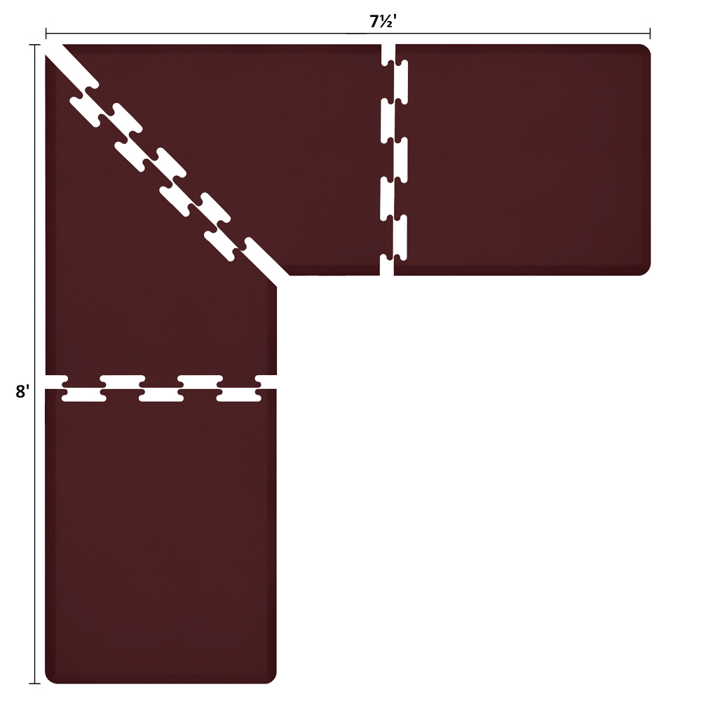 Wellness Mats LS3WMP875BUR L-Series Puzzle Piece Collection w/ Non-Slip Top & Bottom, 8x7.5x3-ft, Burgundy