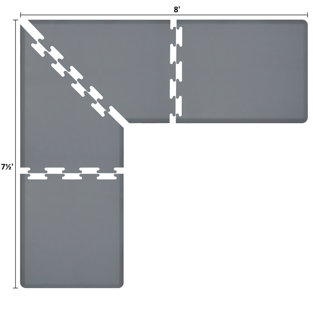 Wellness Mats LS3WMP875GRY L-Series Puzzle Piece Collection w/ Non-Slip Top & Bottom, 8x7.5x3-ft, Gray