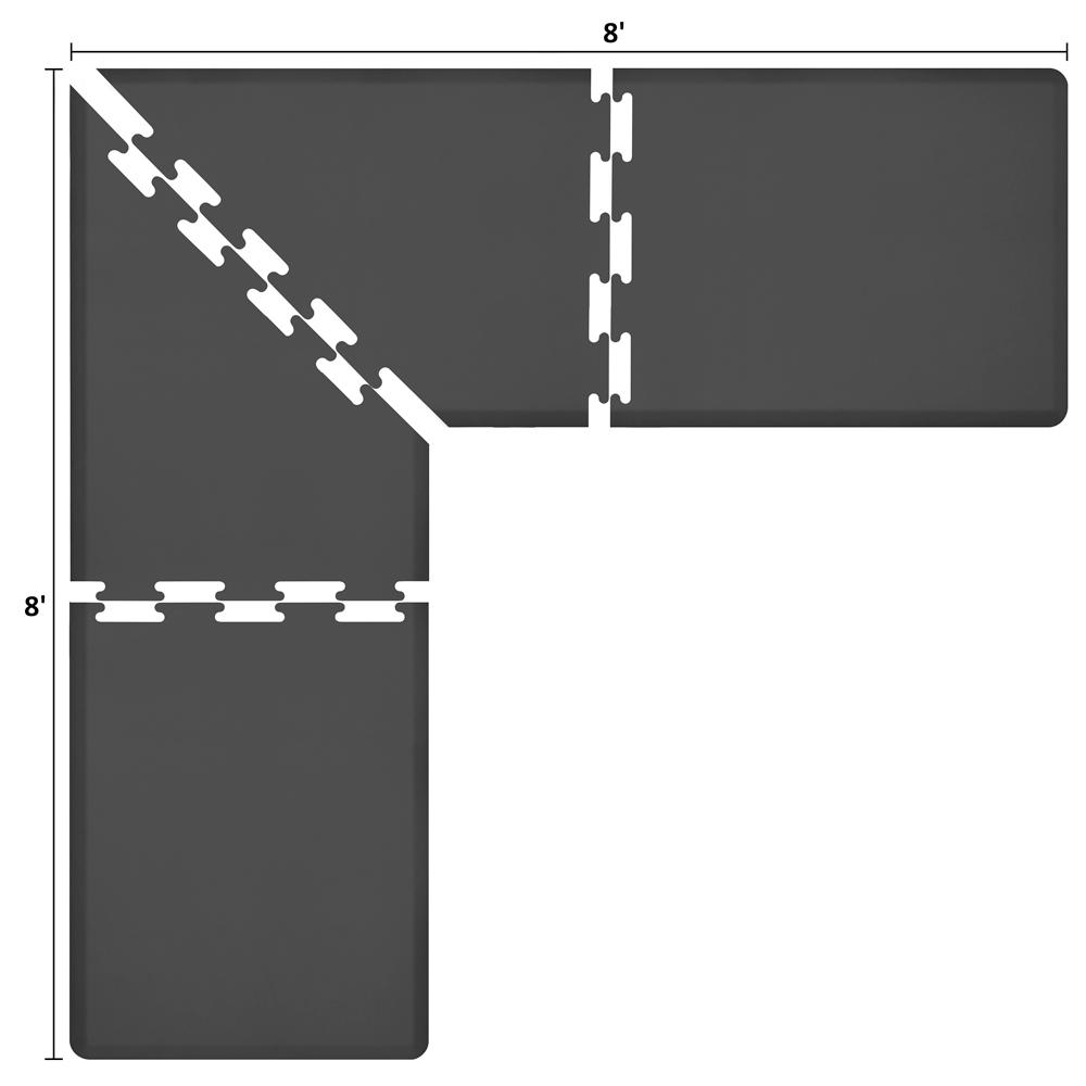Wellness Mats LS3WMP88BLK L-Series Puzzle Piece Collection w/ Non-Slip Top & Bottom, 8x8x3-ft, Black