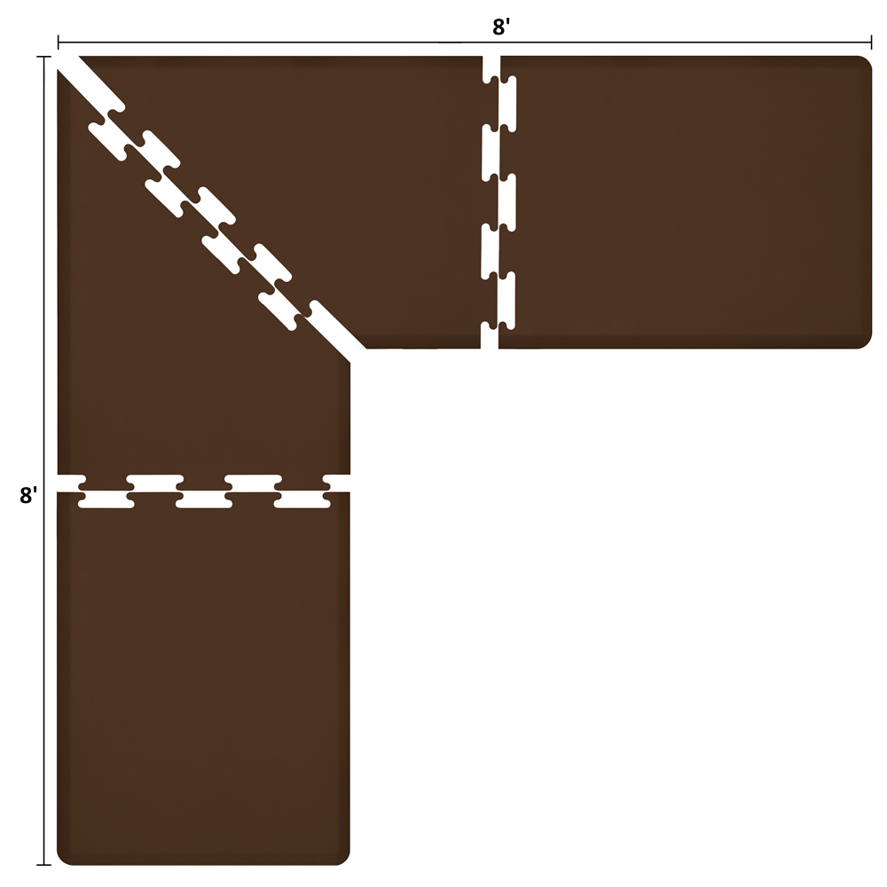 Wellness Mats LS3WMP88BRN L-Series Puzzle Piece Collection w/ Non-Slip Top & Bottom, 8x8x3-ft, Brown