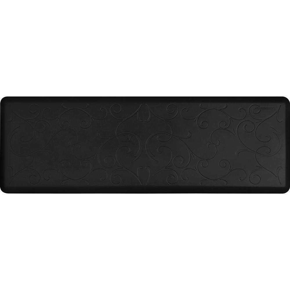 Wellness Mats PMB62WMRBLK Bella Motif Mat w/ No-Trip Beveled Edge & Non-Slip Material, 6x2-ft, Black