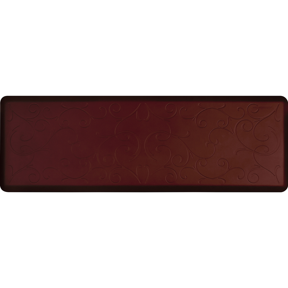 Wellness Mats PMB62WMRBUR Bella Motif Mat w/ No-Trip Beveled Edge & Non-Slip Material, 6x2-ft, Burgundy