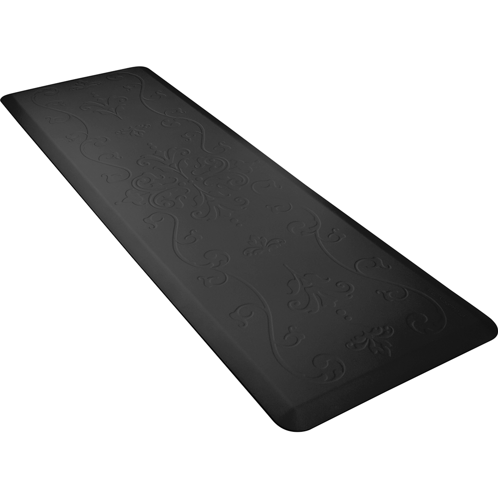 Wellness Mats PME62WMRBLK Entwine Motif Mat w/ No-Trip Beveled Edge & Non-Slip Material, 6x2-ft, Black