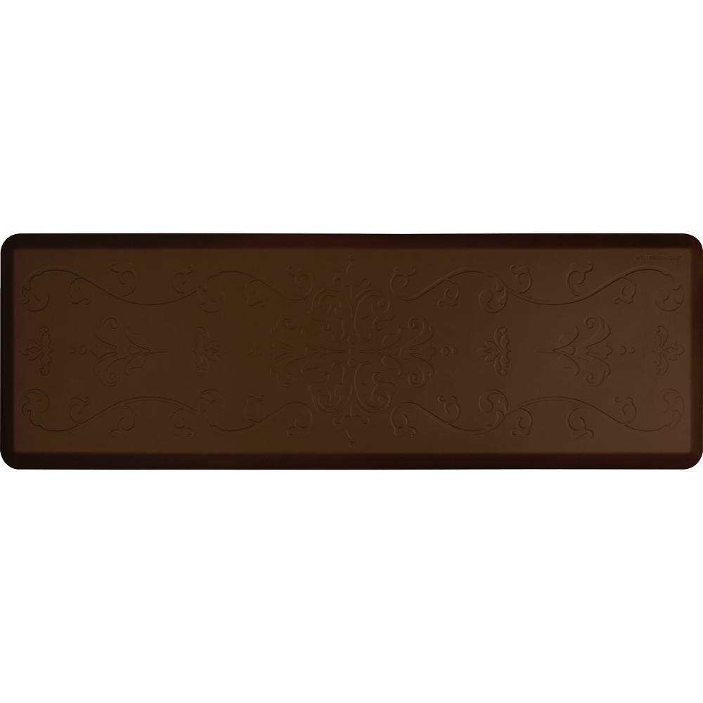 Wellness Mats PME62WMRBRN Entwine Motif Mat w/ No-Trip Beveled Edge & Non-Slip Material, 6x2-ft, Brown
