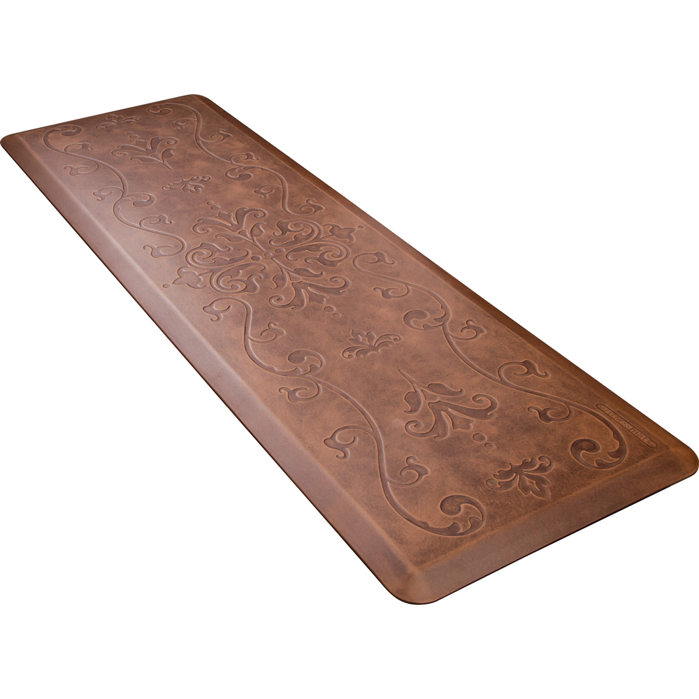Wellness Mats PME62WMRLT Entwine Motif Mat w/ No-Trip Beveled Edge & Non-Slip Material, 6x2-ft, Antique Light