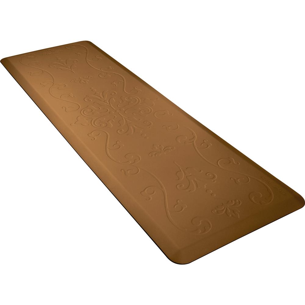 Wellness Mats PME62WMRTAN Entwine Motif Mat w/ No-Trip Beveled Edge & Non-Slip Material, 6x2-ft, Tan