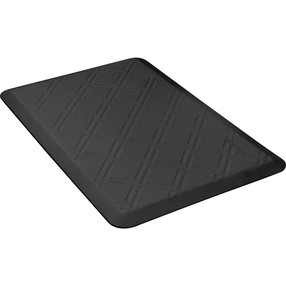 Wellness Mats PMM32WMRBLK Moire Motif Mat w/ No-Trip Beveled Edge & Non-Slip Material, 3x2-ft, Black