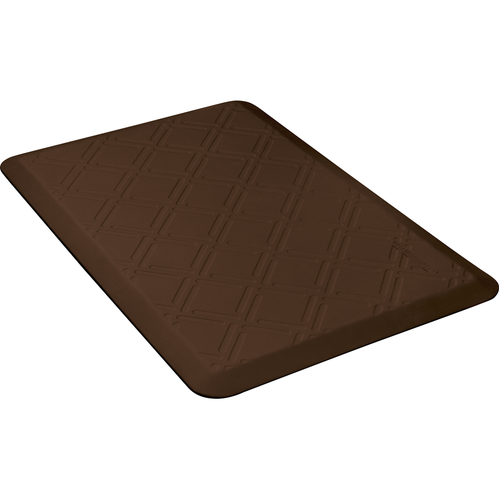Wellness Mats PMM32WMRBRN Moire Motif Mat w/ No-Trip Beveled Edge & Non-Slip Material, 3x2-ft, Brown