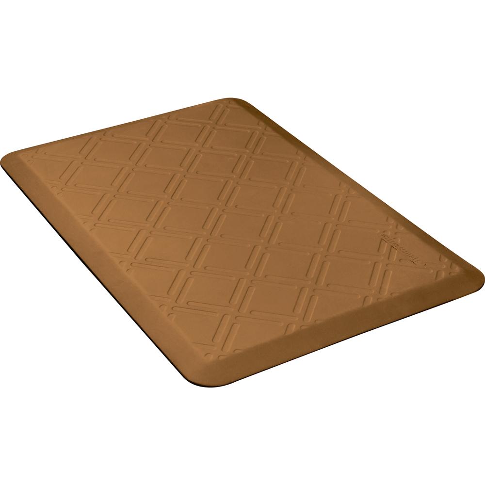 Wellness Mats PMM32WMRTAN Moire Motif Mat w/ No-Trip Beveled Edge & Non-Slip Material, 3x2-ft, Tan