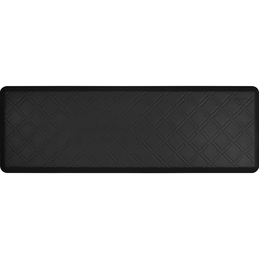 Wellness Mats PMM62WMRBLK Moire Motif Mat w/ No-Trip Beveled Edge & Non-Slip Material, 6x2-ft, Black