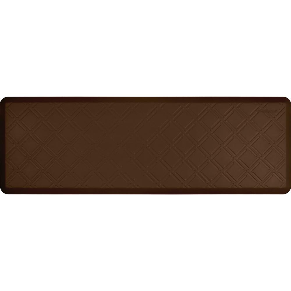 Wellness Mats PMM62WMRBRN Moire Motif Mat w/ No-Trip Beveled Edge & Non-Slip Material, 6x2-ft, Brown