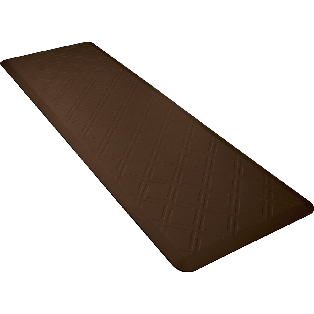 Wellness Mats PMM62WMRBRN Moire Motif Mat w/ No-Trip Beveled Edge & Non-Slip Material, 6x2-ft, Brown