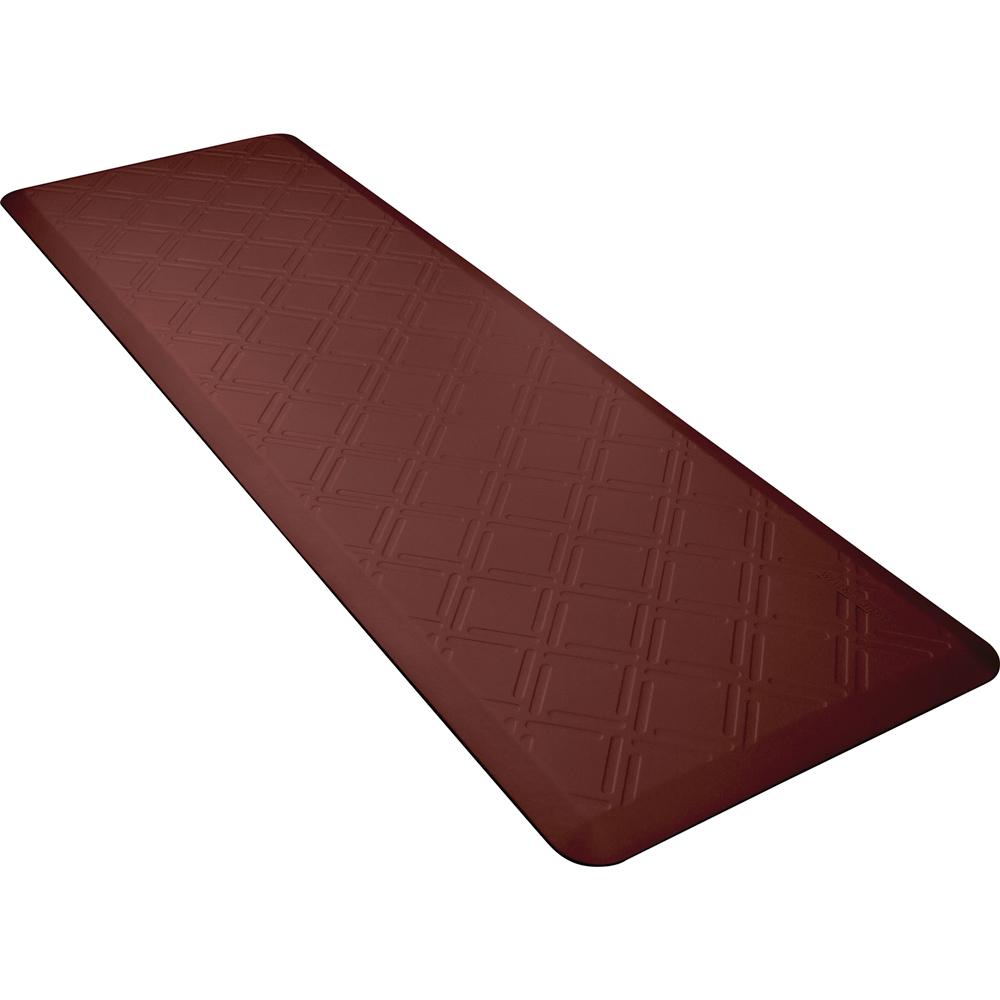 Wellness Mats PMM62WMRBUR Moire Motif Mat w/ No-Trip Beveled Edge & Non-Slip Material, 6x2-ft, Burgundy