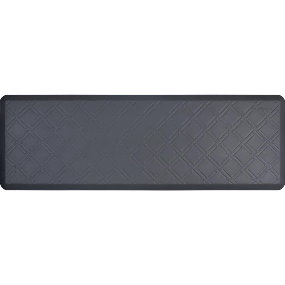 Wellness Mats PMM62WMRGRY Moire Motif Mat w/ No-Trip Beveled Edge & Non-Slip Material, 6x2-ft, Gray