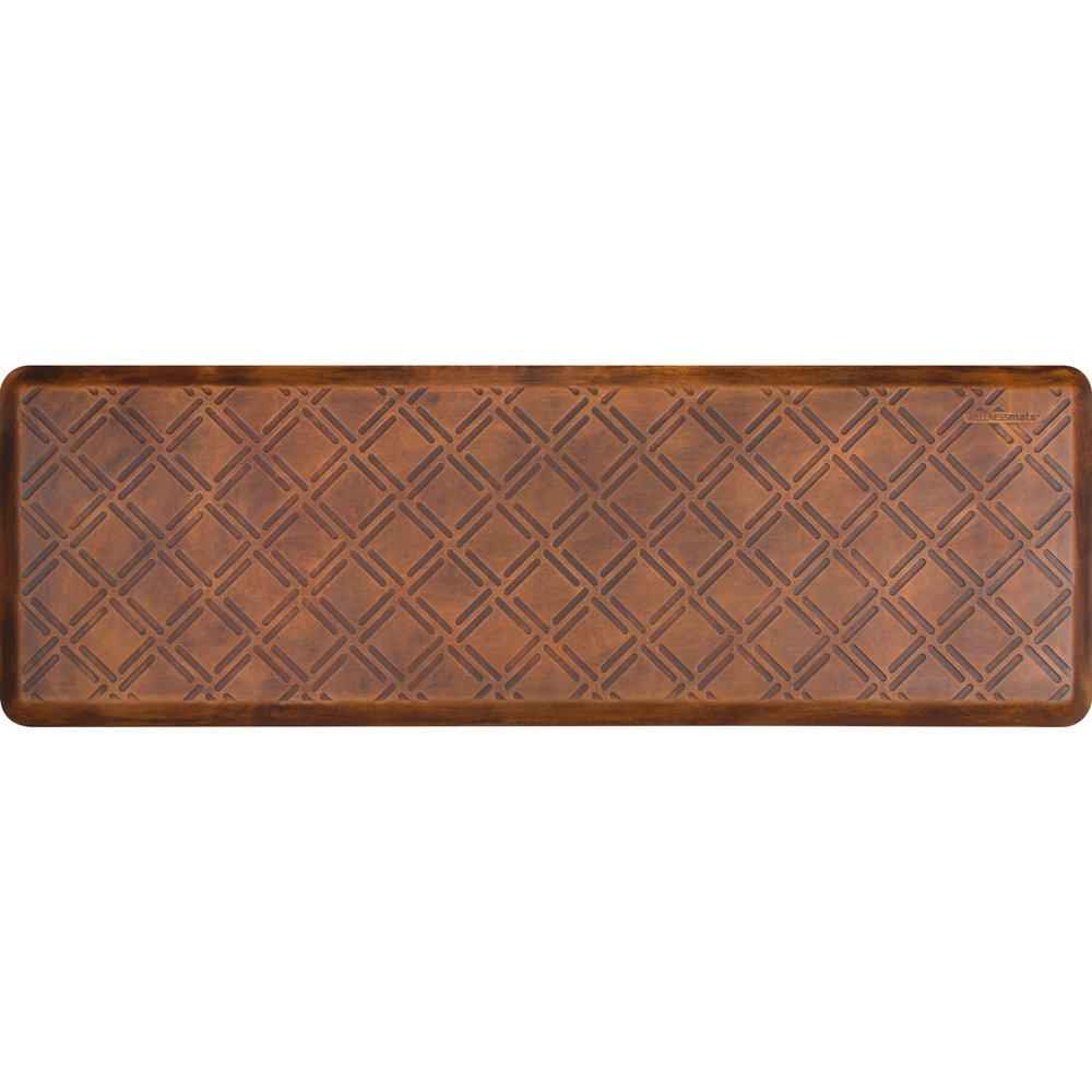 Wellness Mats PMM62WMRLT Moire Motif Mat w/ No-Trip Beveled Edge & Non-Slip Material, 6x2-ft, Antique Light