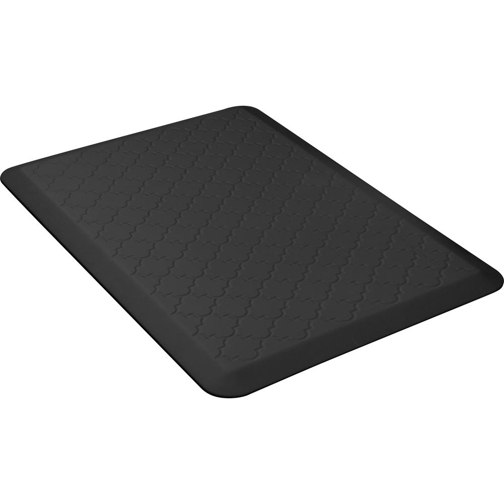 Wellness Mats PMT32WMRBLK Trellis Motif Mat w/ No-Trip Beveled Edge & Non-Slip Material, 3x2-ft, Black