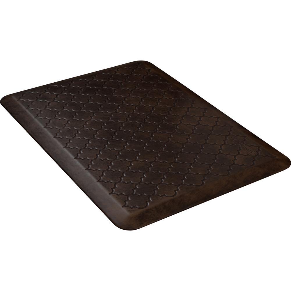 Wellness Mats PMT32WMRDB Trellis Motif Mat w/ No-Trip Beveled Edge & Non-Slip Material, 3x2-ft, Antique Dark