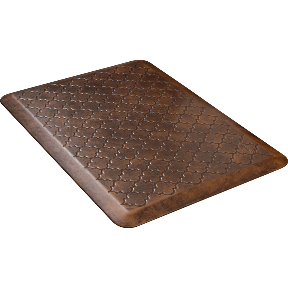 Wellness Mats PMT32WMRLT Trellis Motif Mat w/ No-Trip Beveled Edge & Non-Slip Material, 3x2-ft, Antique Light