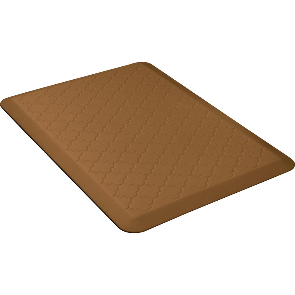Wellness Mats PMT32WMRTAN Trellis Motif Mat w/ No-Trip Beveled Edge & Non-Slip Material, 3x2-ft, Tan