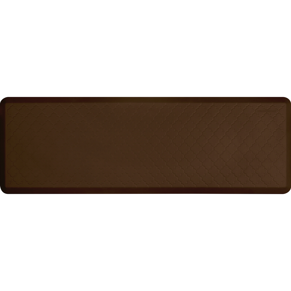 Wellness Mats PMT62WMRBRN Trellis Motif Mat w/ No-Trip Beveled Edge & Non-Slip Material, 6x2-ft, Brown