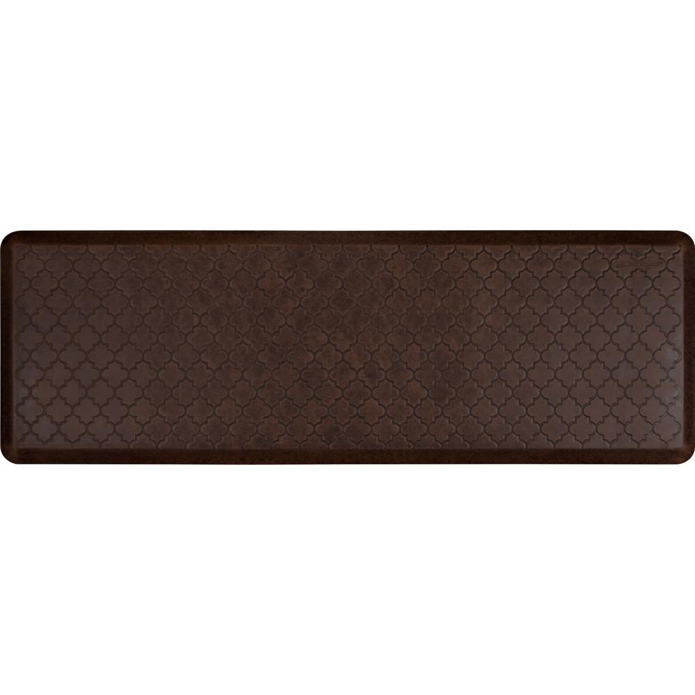 Wellness Mats PMT62WMRDB Trellis Motif Mat w/ No-Trip Beveled Edge & Non-Slip Material, 6x2-ft, Antique Dark