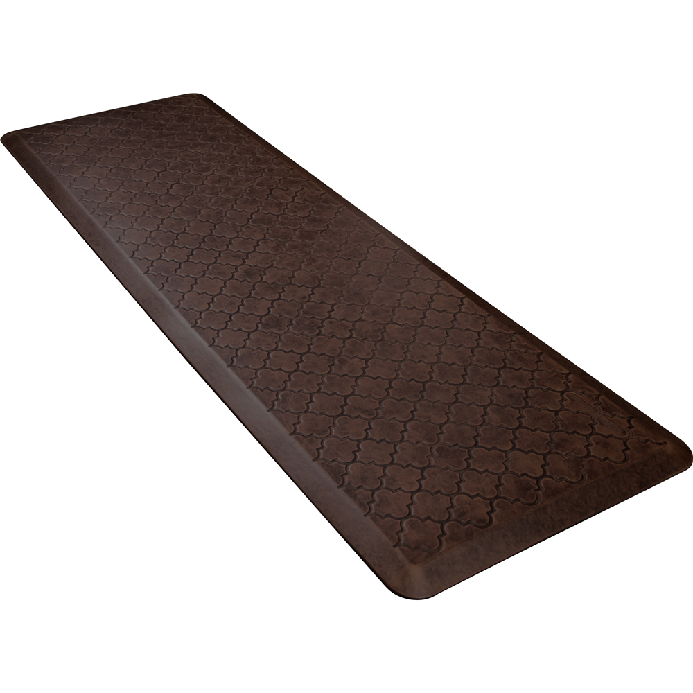 Wellness Mats PMT62WMRDB Trellis Motif Mat w/ No-Trip Beveled Edge & Non-Slip Material, 6x2-ft, Antique Dark