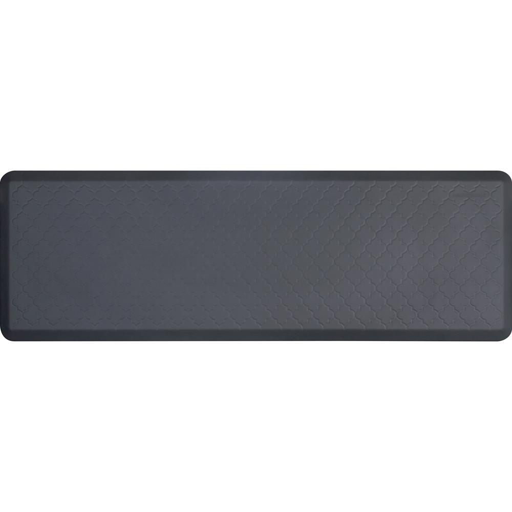 Wellness Mats PMT62WMRGRY Trellis Motif Mat w/ No-Trip Beveled Edge & Non-Slip Material, 6x2-ft, Gray