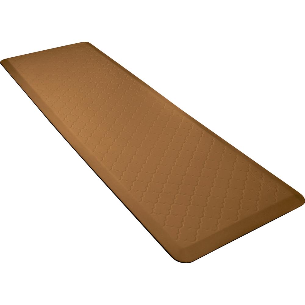 Wellness Mats PMT62WMRTAN Trellis Motif Mat w/ No-Trip Beveled Edge & Non-Slip Material, 6x2-ft, Tan