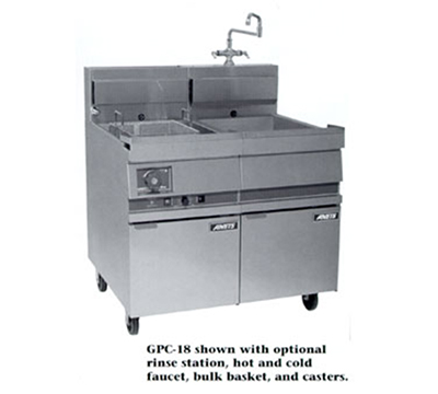 "Anets GPC18 LP 18"" Pasta Cooker, Single Tank, w/ Lift-Off Basket Hanger & Solid State, LP"