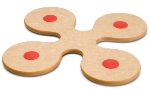 Epicurean 010-10101 8 x 8-in Flower Trivet, Natural w/ Red Silicone Grippers