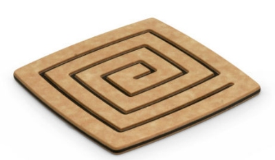 Epicurean 019-04040102 4 x 4-in Coaster, Natural w/ Slate Pin Stripe Side, Hot/ Cold