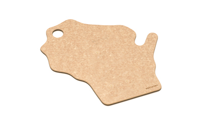 "Epicurean 032-WI0102 State Shape Novelty Cutting Board, 12x14"", Wisconsin, Natural/Slate"