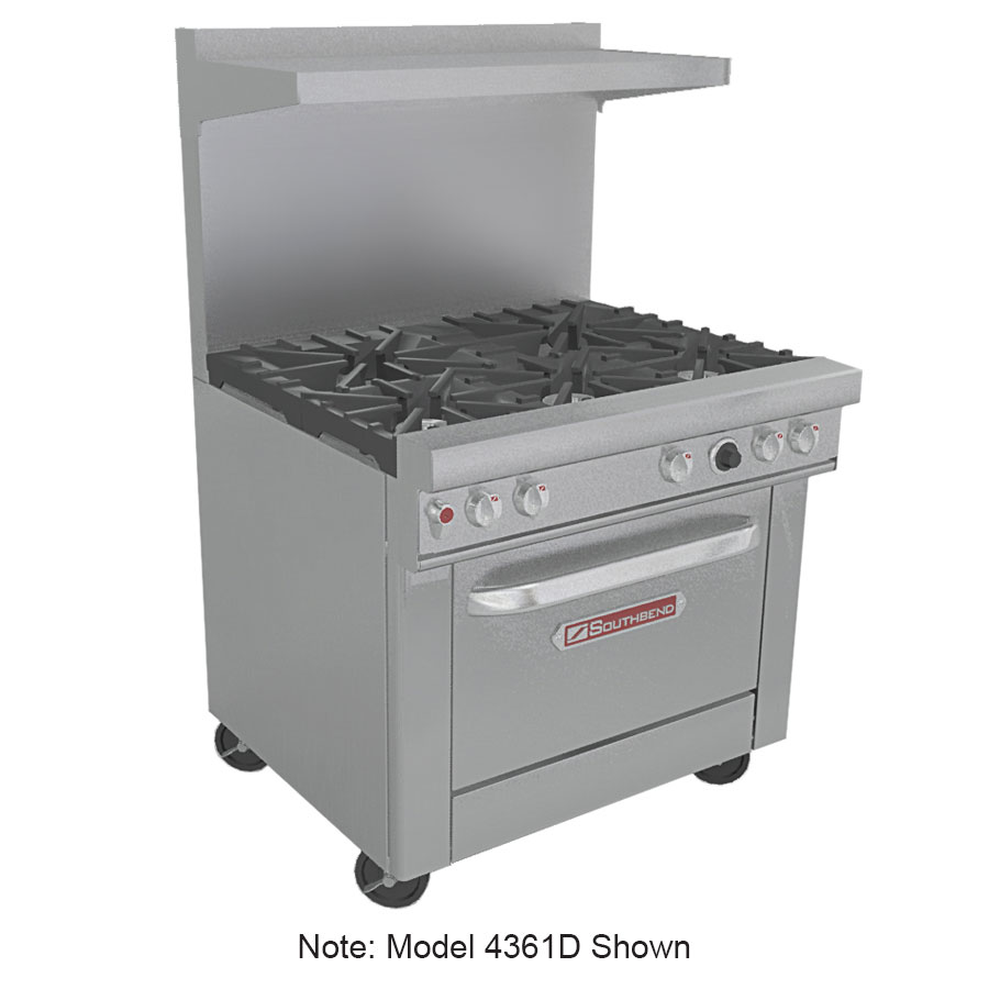 "Southbend 4361A-1GL 36"" 4-Burner Gas Range with Griddle, LP"