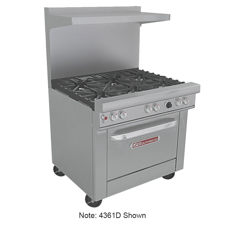 "Southbend 4362A-1G 36"" 4-Burner Gas Range with Griddle, LP"