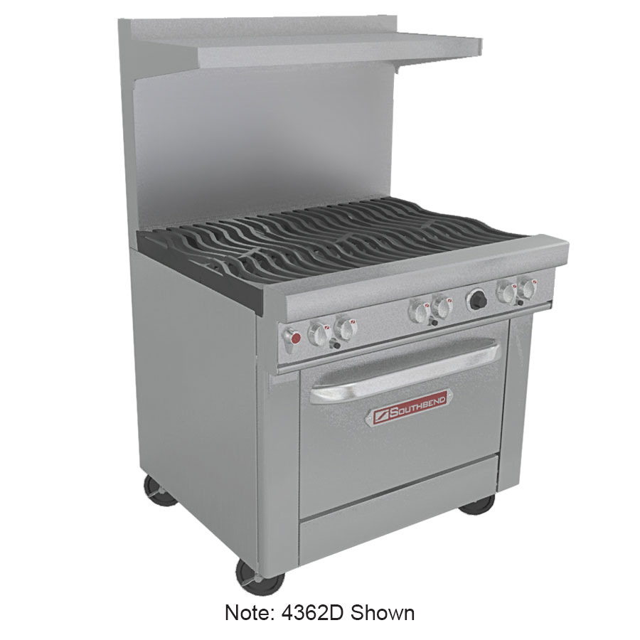 "Southbend 4362D-2CR 36"" 2-Burner Gas Range with Charbroiler, LP"