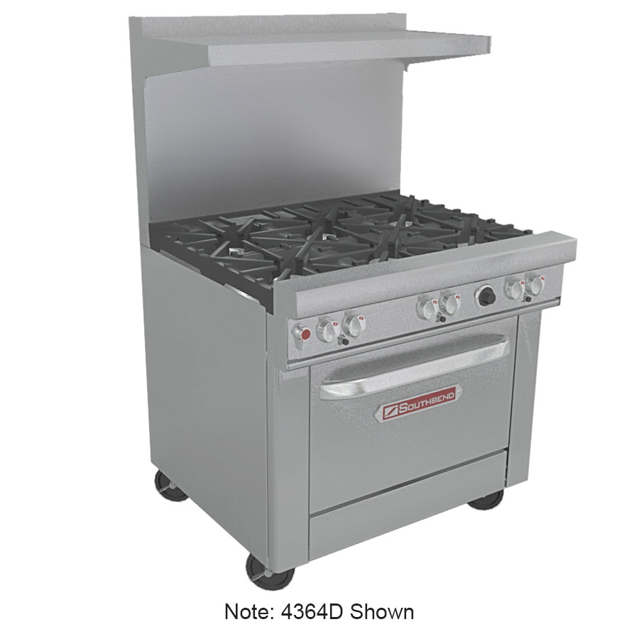 "Southbend 4364D-1G 36"" 4-Burner Gas Range with Griddle, LP"
