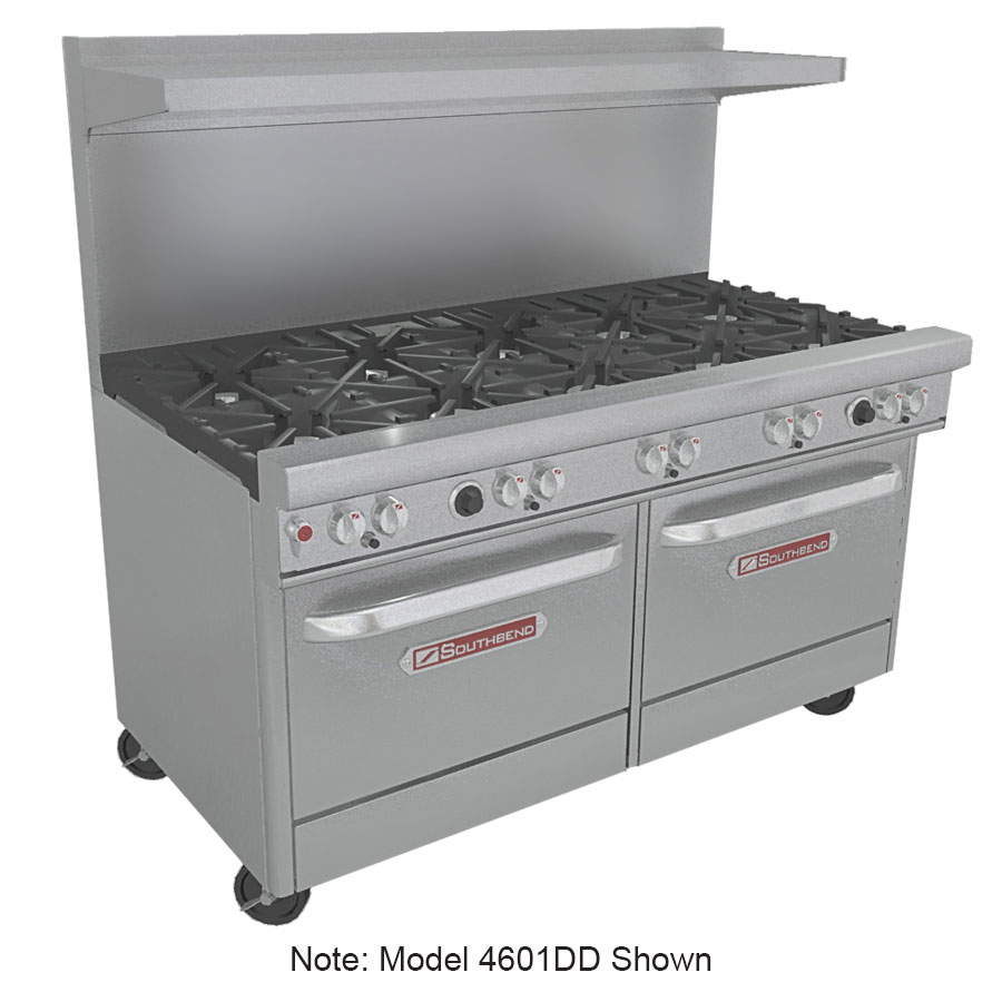 "Southbend 4601DD-3CR 60"" 4-Burner Gas Range with Charbroiler, LP"