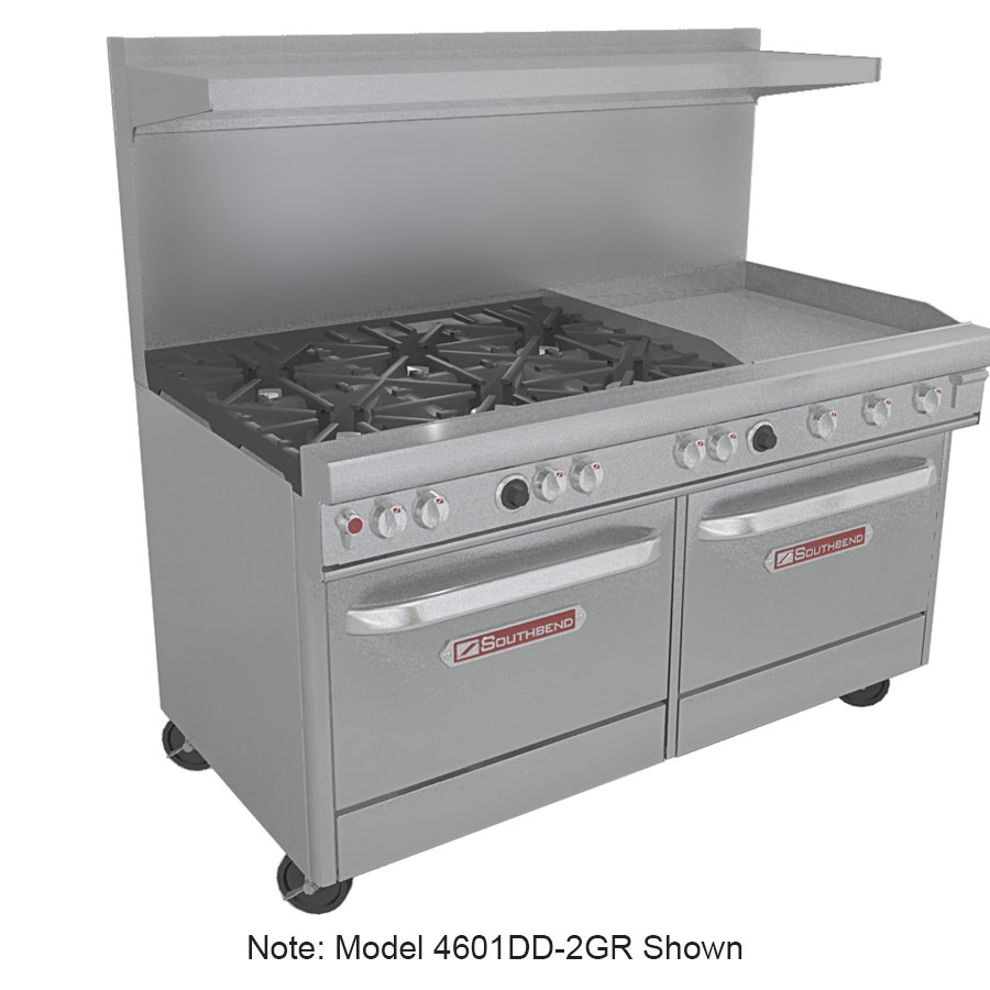 "Southbend 4601DD-4GR 60"" 2-Burner Gas Range with Griddle, NG"