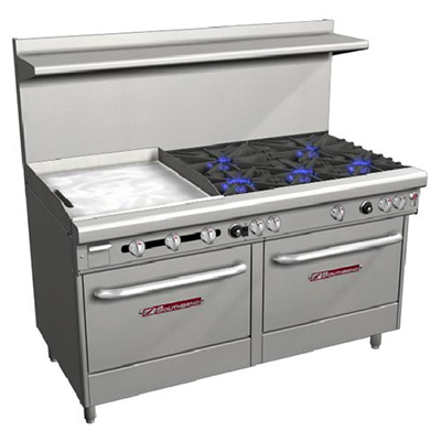 "Southbend 4606AD-2GL 60"" 5-Burner Gas Range with Griddle, LP"