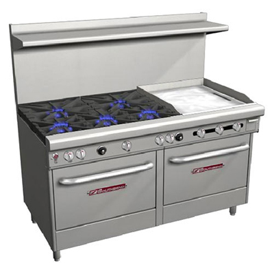 "Southbend 4606DD-2TR 60"" 5-Burner Gas Range with Griddle, LP"