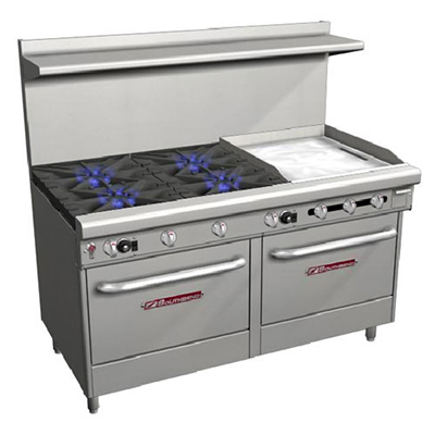 "Southbend 4607AA-2TR 60"" 4-Burner Gas Range with Griddle, NG"