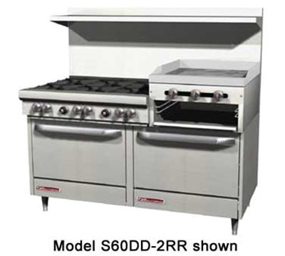 """Southbend 4607AD-2RR 60"""" 4-Burner Gas Range with Griddle & Broiler, LP"""