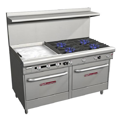 "Southbend 4607AD-2TL 60"" 4-Burner Gas Range with Griddle, LP"