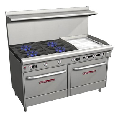 "Southbend 4607AD-2TR 60"" 4-Burner Gas Range with Griddle, LP"