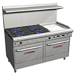 "Southbend 4607DD-2TR 60"" 4-Burner Gas Range with Griddle, LP"