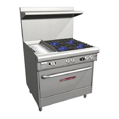 "Southbend H4361A-1G 36"" 4-Burner Gas Range with Griddle, LP"