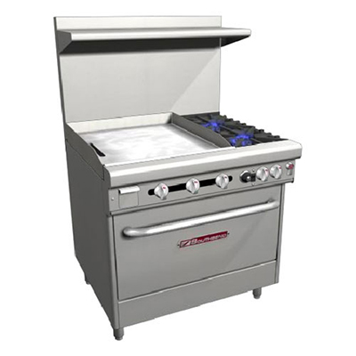"Southbend H4361A-2GL 36"" 2-Burner Gas Range with Griddle, NG"